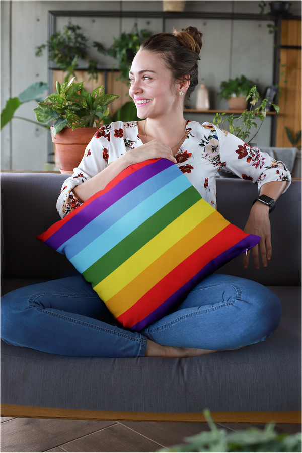 Rainbow Bands Spun Polyester Square Pillow
