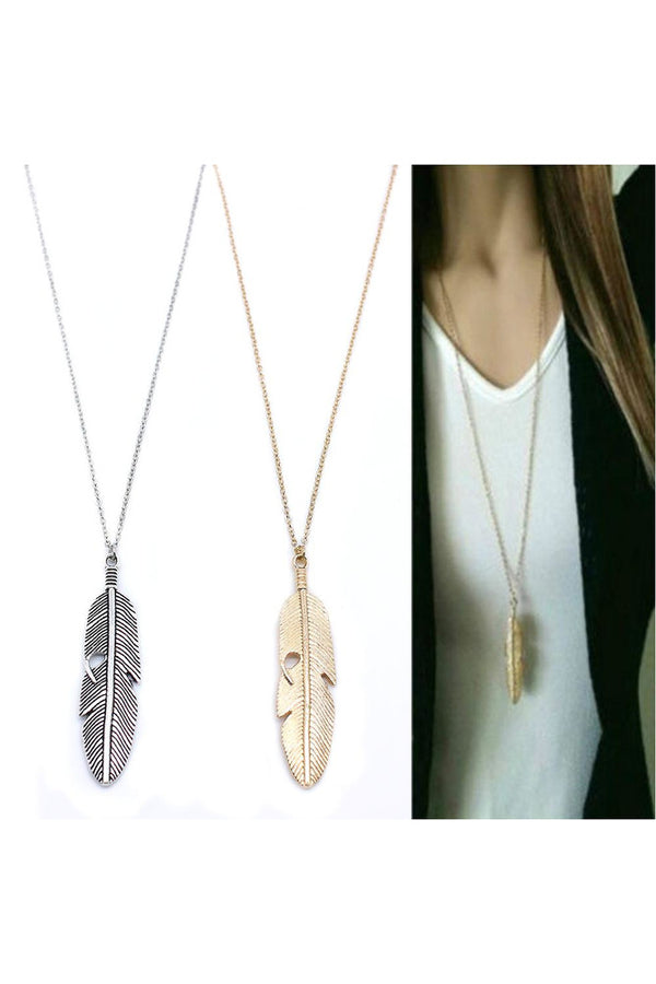Feather Necklace Long Sweater Chain