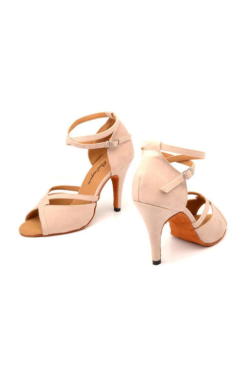 Beige Suede Salsa Dance Shoes