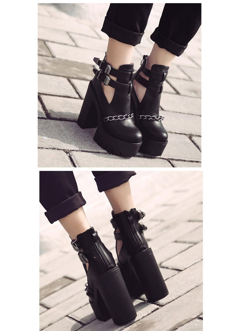 Ankle Boots  High Heels Platform Shoes