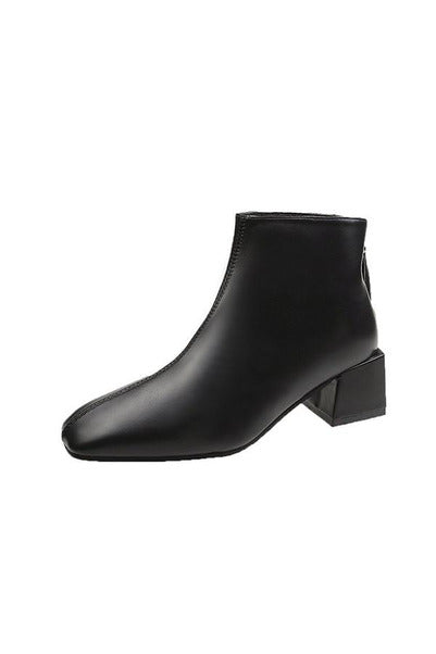 Square-toe Zip-up Ankle Boots