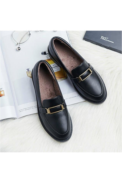 Genuine Leather Round Toe  Loafers