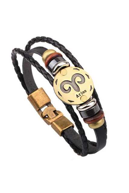 Zodiac Constellations Leather Bracelets