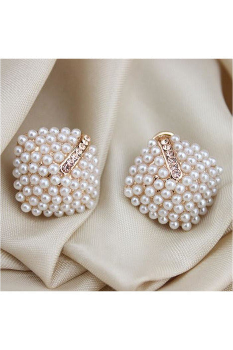 ExquisiteFashion OL Style Women Stud Earrings Pearl Rhombus Crystal Rhinestone - Objet D'Art Online Retail Store