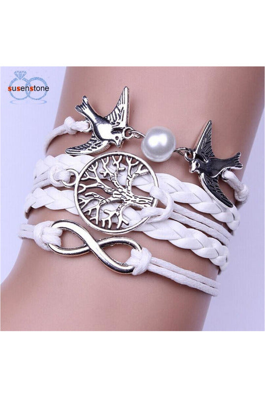 Handmade Adjustable Pigeon Leather Multi-layer Bracelet Wristband - Objet D'Art Online Retail Store