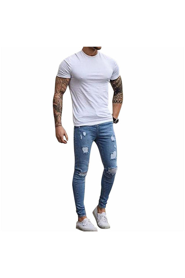 Fashion Destroyed Torn Pants Men's Pant Zipper Skinny Jeans (Blue) - Objet D'Art Online Retail Store