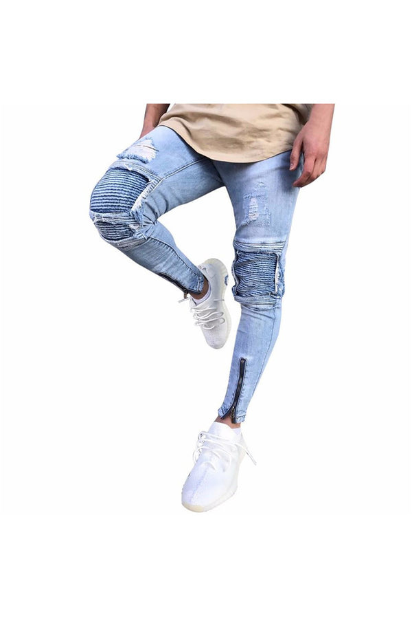 Mens Ripped Slim Fit Motorcycle Vintage Denim Jeans Hiphop Streetwear Pants - Objet D'Art Online Retail Store