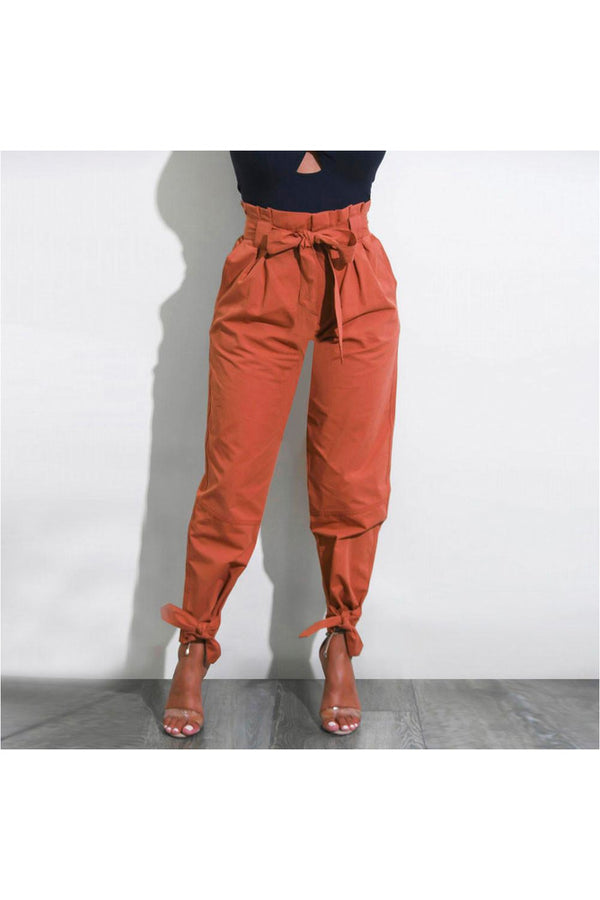 Womens Belted High Waist Trousers Ladies Party Casual Pants