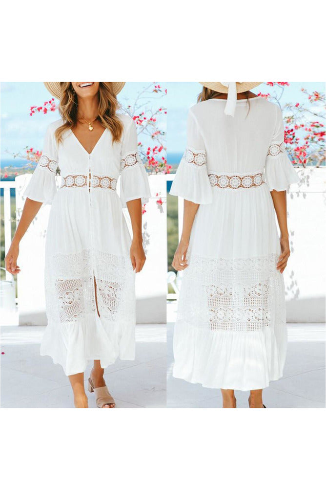 Women Casual Solid V-Neck Lace Patchwork Button 3/4 Sleeve Split Maxi Long Dress