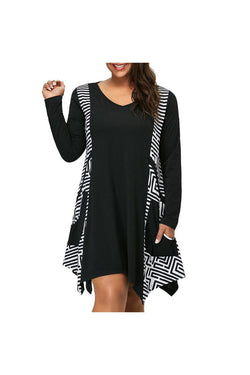 Fashion Womens Plus Size V-Neck Long Sleeve Asymmetrical Mini Dress Pockets - Objet D'Art Online Retail Store