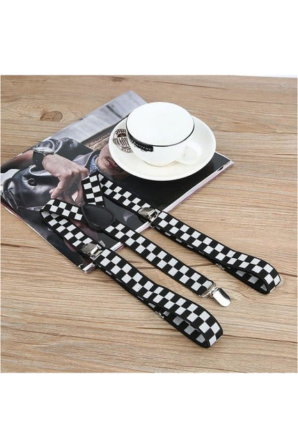 Adjustable Elasticated Adult Suspender Straps Y Shape Clip-on