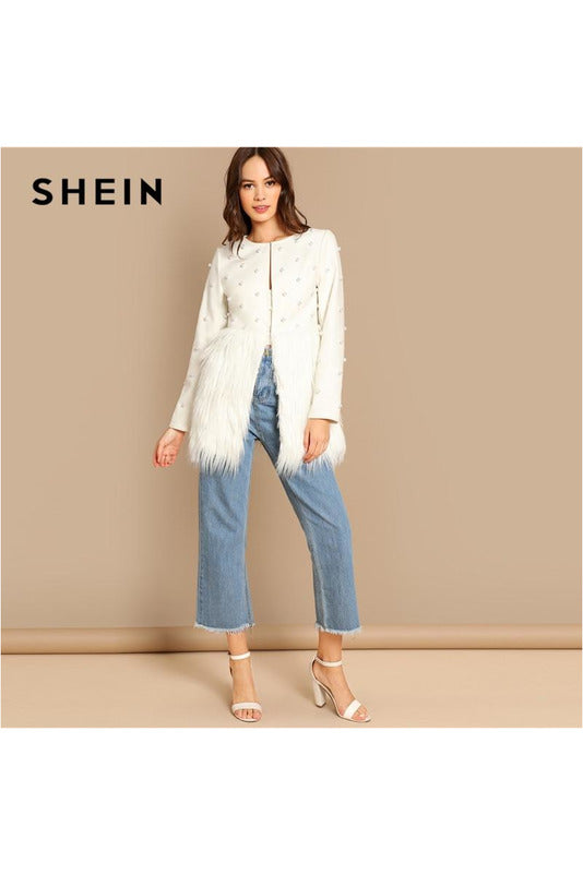 White Office Lady Solid Pearl Embellished Faux Fur Round Neck Jacket