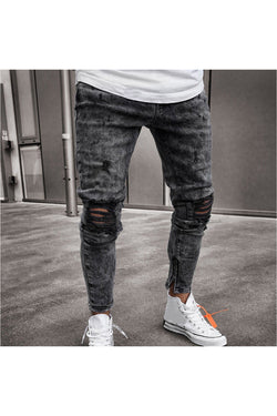 Mens Skinny Stretch Denim Pants Distressed Ripped Freyed Slim Fit Jeans Trousers - Objet D'Art Online Retail Store