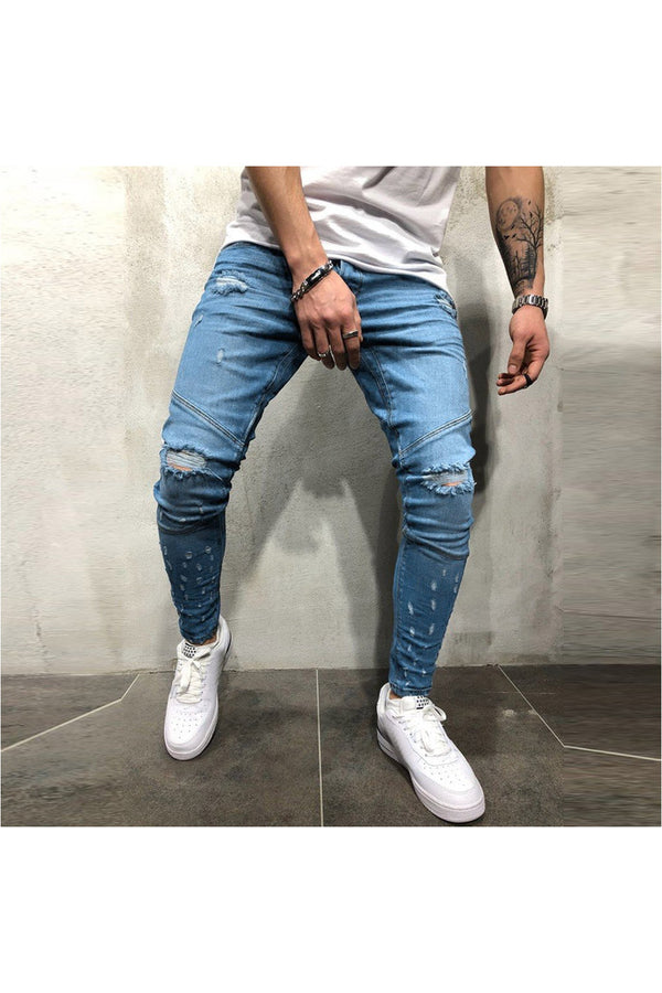 Men's Printed Denim Cotton Vintage Wash Hip Hop Work Trousers Jeans Pants - Objet D'Art Online Retail Store