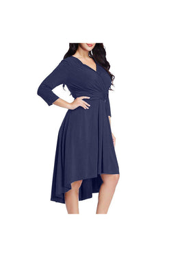 Fashion Womens Casual Plus Size Plus Size 3/4 Sleeve Cross V Neck Solid Dress - Objet D'Art Online Retail Store