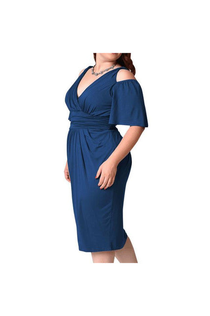 FASHION WOMENS PLUS SIZE V-NECK STRAPLESS SEXY SOLID CASUAL SHORT SLEEVE DRESS