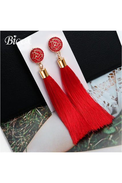 Bohemian Tassel Crystal Long Earrings  2019