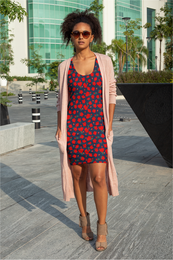 Red Floral Sublimation Cut & Sew Dress