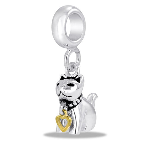 Cat Charm  w/Gold Heart by DaVinci