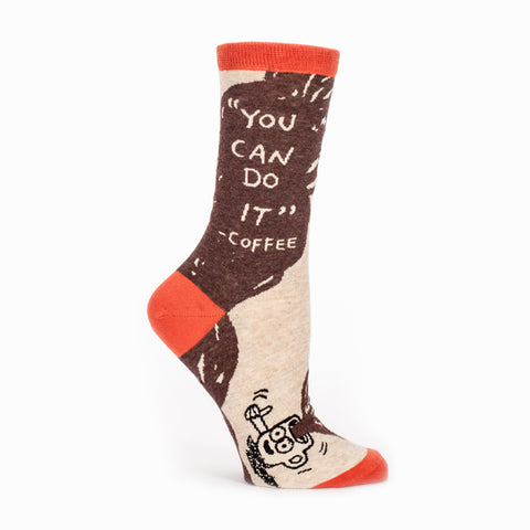 """You Can Do It--Coffee"" Women's Crew Socks"