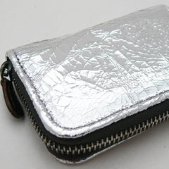 Barbara Wiggins Metallic Leather Small Coin Purse - Silver