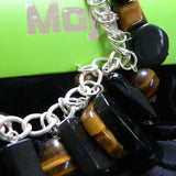 Tiger's eye and Onyx charm bracelet