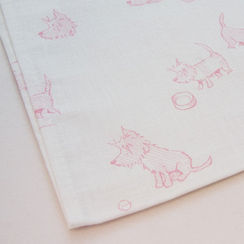 Hot Paws & trogg tea towels - pink terriers