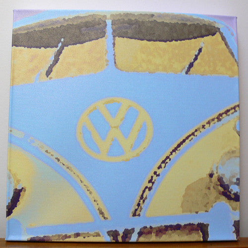 Blue & Yellow VW Camper Van Print