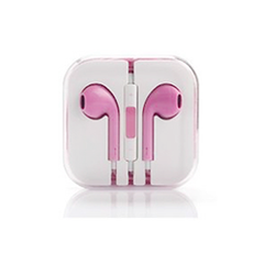 Earphones with Mic and Volume Control - Pink