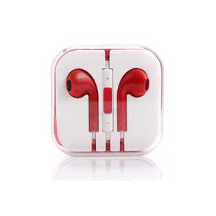 Earphones with Mic and Volume Control - Red
