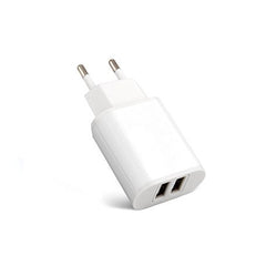 Dual USB Wall Plug - White