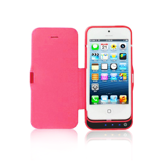 iPhone 5/5S/5C Flip Cover Battery Case 4200mAh - Pink - Tangled