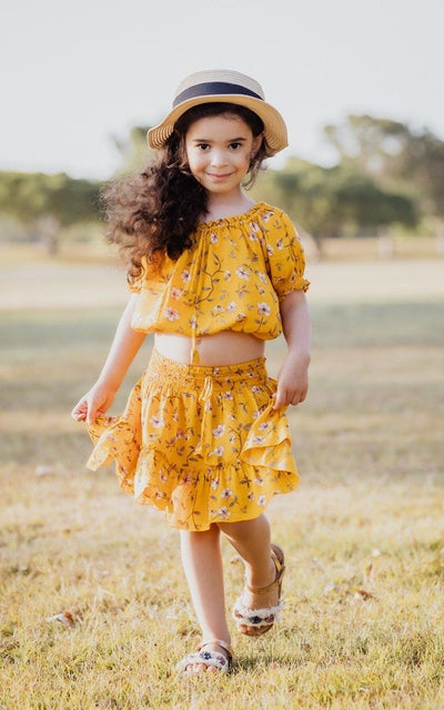 Girls Mini Skirt & Peasant Crop Top ⁓ Mustard Jewel Girls Sets Wild Blossoms