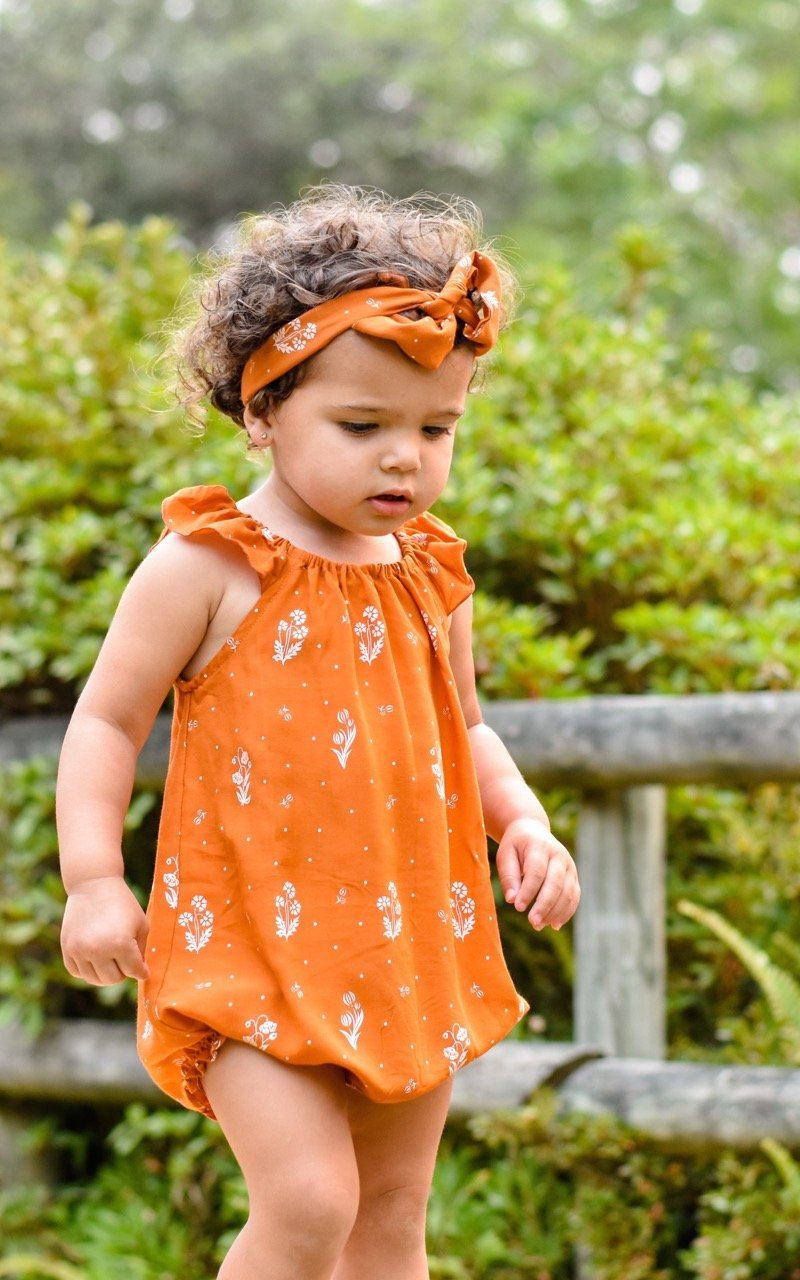 Burnt Orange Onesie + Headwrap Onesies/Rompers Wild Blossoms
