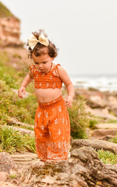 Harem Pants + Crop Top ⁓ Burnt Orange Girls Sets Wild Blossoms
