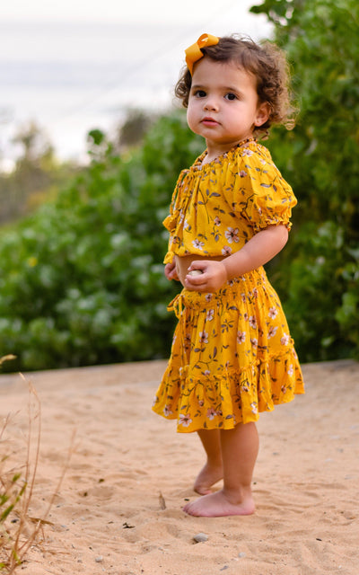 Girls Skirt & Peasant Crop Top ⁓ Mustard Jewel Girls Sets Wild Blossoms
