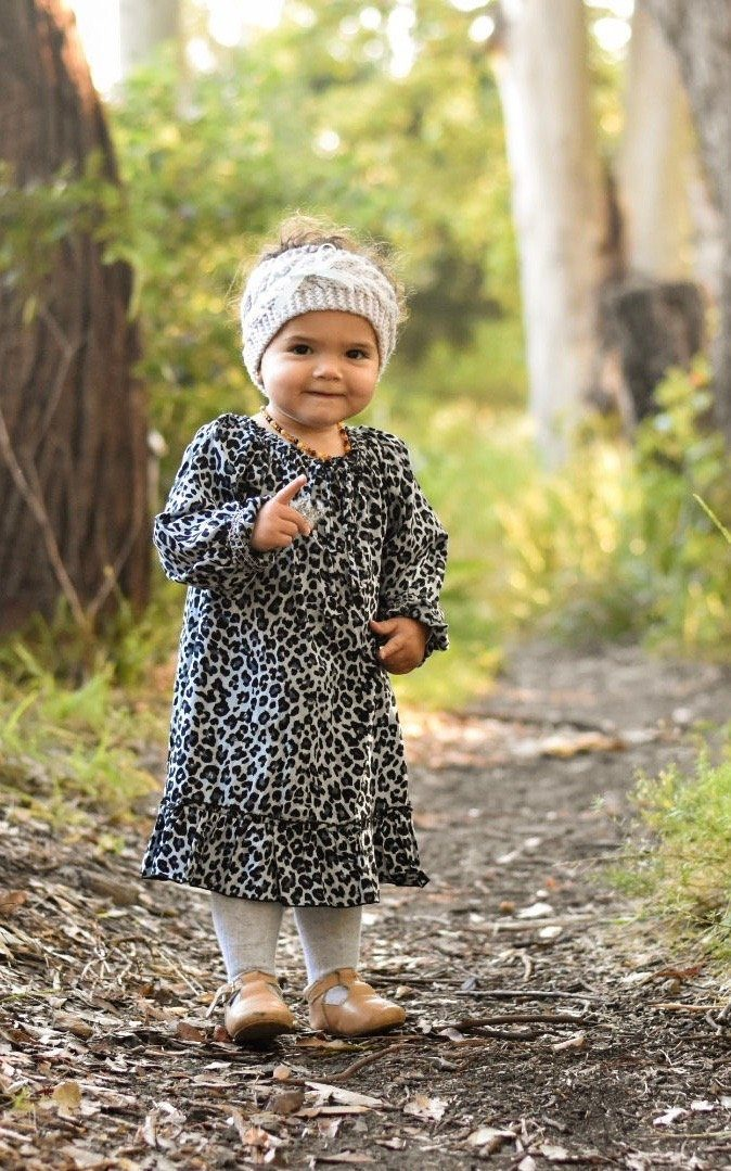 Girls Leopard Dress ⁓ Blue Girls dresses Wild Blossoms
