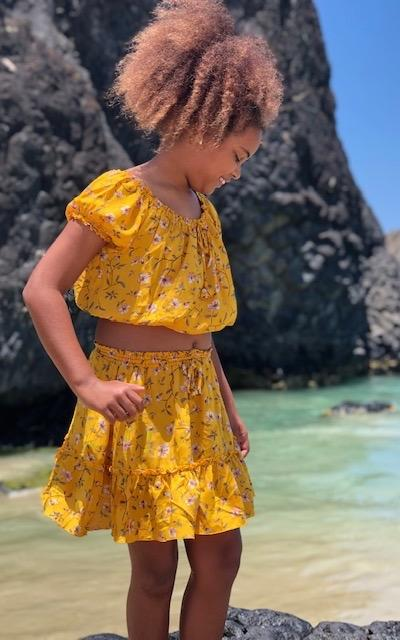 Mini Skirt and Peasant Crop Top ⁓ Mustard Jewel Tween & Teen Sets Wild Blossoms