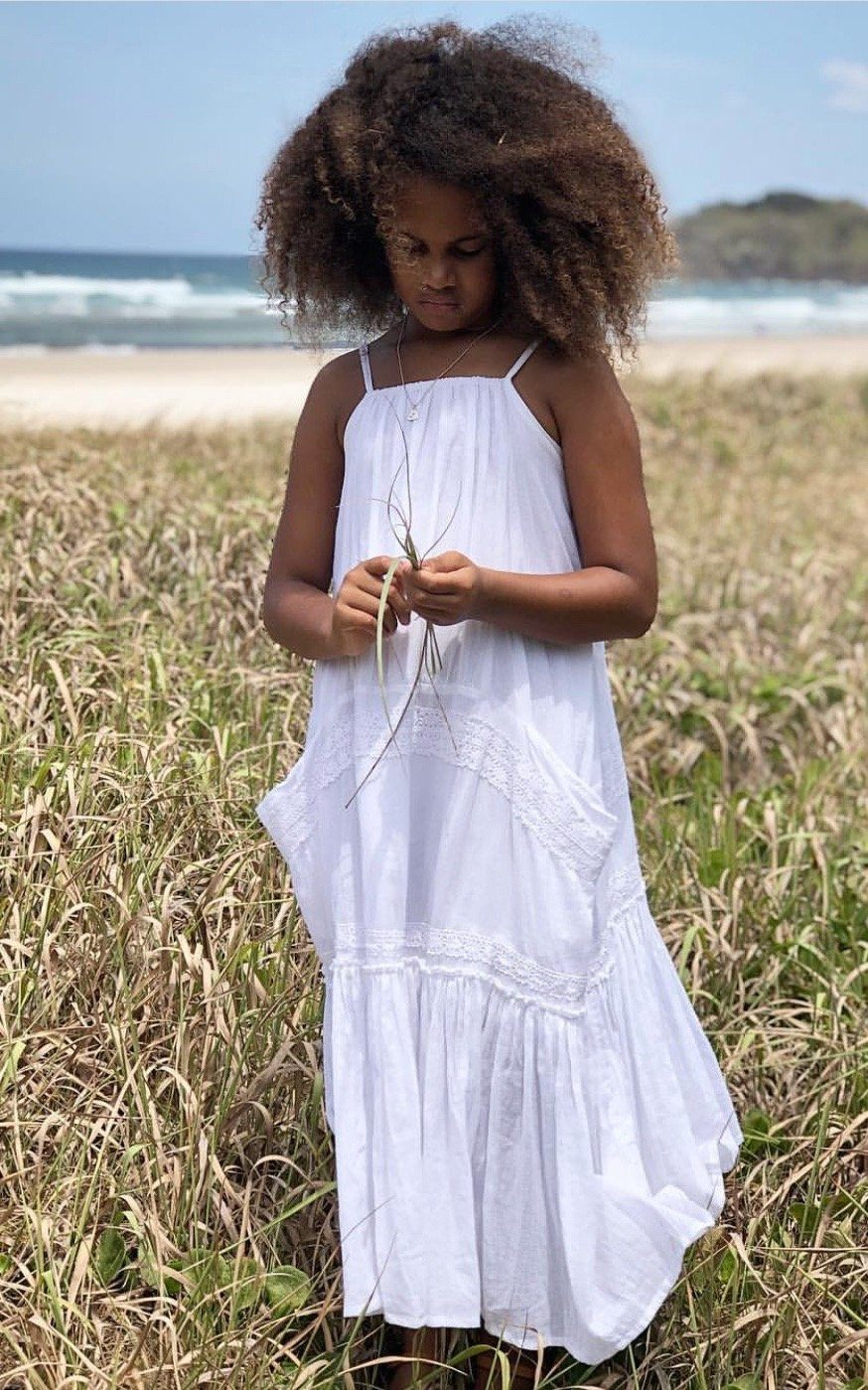 Girls White Boho Dress