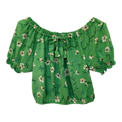 Peasant Crop Top ⁓ Jade Tween & teen tops Wild Blossoms