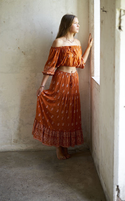Gypsy Top ⁓ Burnt Orange Tween & teen skirts Wild Blossoms