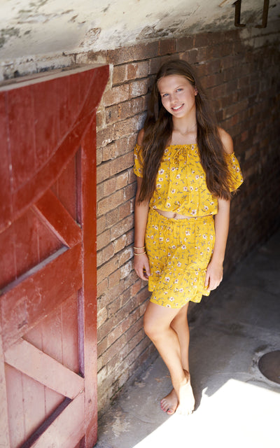 Mini Skirt and Peasant Crop Top ~ Mustard Jewel Tween & Teen Sets Wild Blossoms
