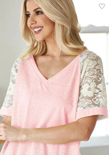 Blush Tri Blend Knit w/ Lace Sleeve