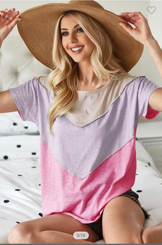 Color Block Top w/ Oat Lavender Pink