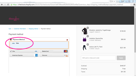 Amazon Payment for purchasing Activewear no credit card needed