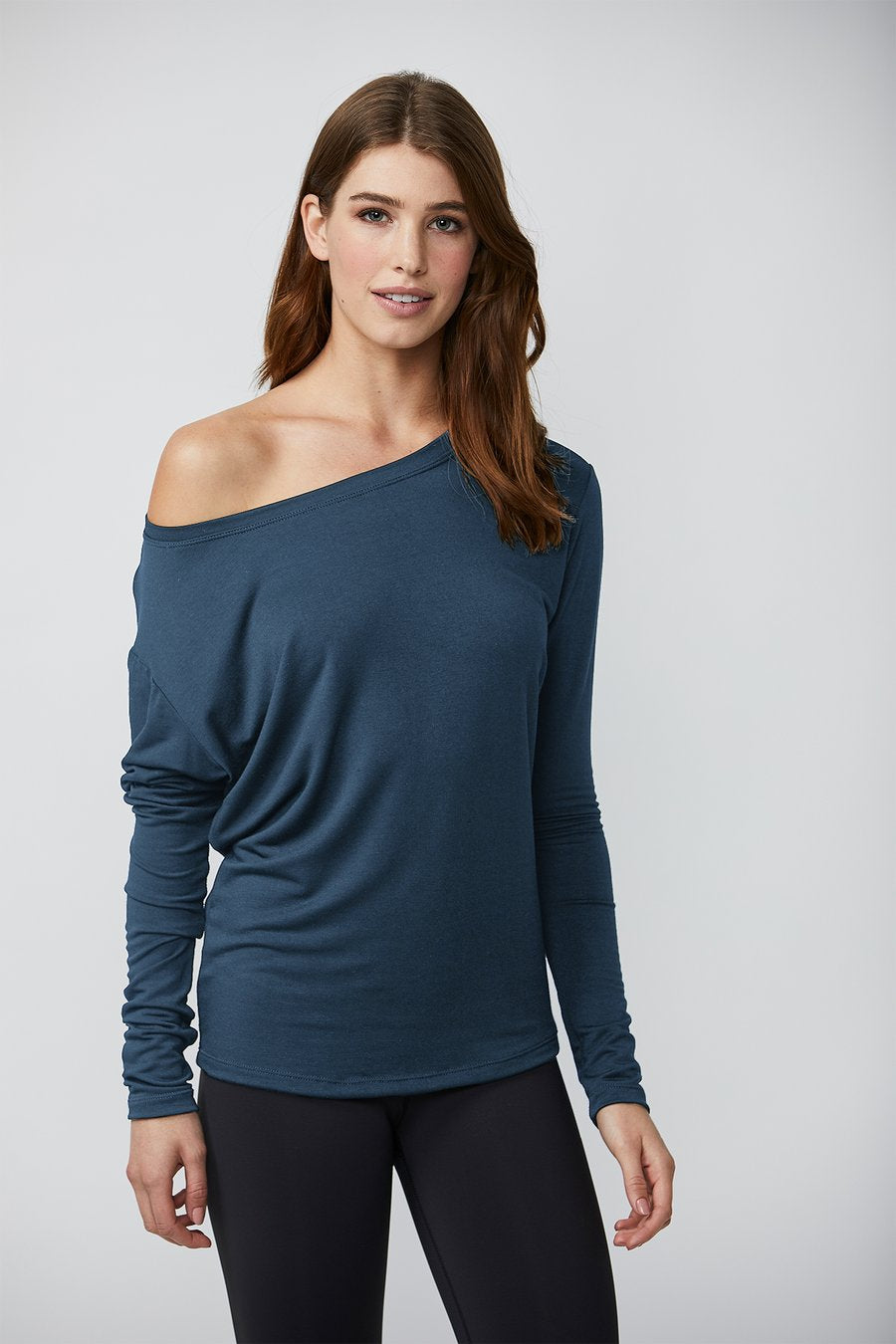 Cold Shoulder Long Sleeve in Chambray