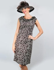 AA-40175G Couture Giraffe Pencil Fit Dress