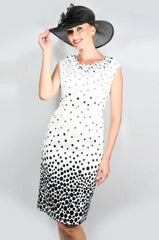 AA-40175 Couture Black and White Pencil Fit Dress