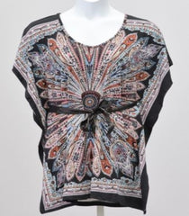 India Boutique 127 Scarf Print Top