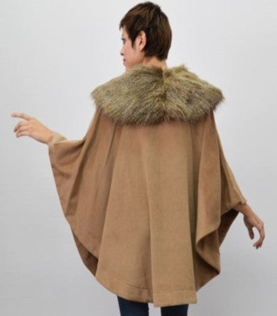 Adrienne Landau Faux Fur Collar Cape                                    .